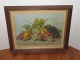 Vintage Still Life Stem Foliage Fruit in Pine Frame Antique Lithograph Gilded Trim