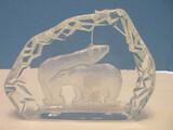 Collectible Lead Crystal Striking Polar Bears Sculpture 3 Dimensional Design