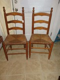 Vintage Pair - Oak Ladder Back Chairs w/ Rush Seats Finial Accent