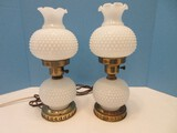 Pair - Boudoir Milk Glass Hobnail Pattern 24