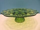 Smith Glass Green Pressed Glass Moon & Stars Pattern Pedestal Low 4
