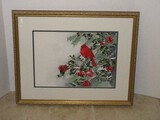 Sensational Cardinal Red Bird Perched on Holly & Berries Limb Snow Water Color