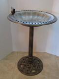 Plastic Molded Pedestal Bird Bath w/ Pierced Rim Perched Bird Figure
