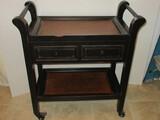 Hobby Lobby Furniture Tea Cart/Server Cart w/ Double Drawers & Base Shelf Distress Patina