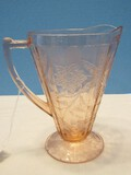 Rare Find Jeannette Depression Glass Floral Pink Pattern Footed Cone 7 1/2