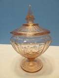 Anchor Hocking Pink Depression Glass Mayfair Pattern Open Rose Design Candy Dish