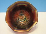 Scarce Signed Northwood Rosette Interior Pattern Scrolled Footed Bowl Ruffles