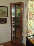 Stately Pulaski Furniture Corp. Oak Lighted Curio w/ Glass Shelves, Mirror Back