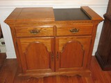 Broyhill Furniture Oak Flip Top Server Buffet Cabinet w/ Single Drawer & Double Panel Doors