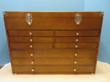 Awesome Wooden Tool Chest 9 Drawers Felt Lined, Hinged Lid w/ Diamond Mirror