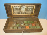 Early Dovetail Wooden Child's Falcon Tool Chest w/ 22 Vintage Classic Alphabet Blocks