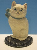 Cast Iron Painted Cat w/ Blue Ribbon Bow Door Stop