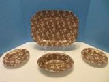 4 Pieces - Crownford China Co. Inc. Staffordshire Brown Calico Pattern