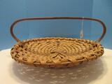 Unique Hand Woven Shallow Basket w/ Low Curved Oak Handle