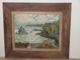 Rocky Cliff Shoreline Original Art on Artist Board in Rustic Wood Frame