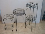3 Metal Plant Stands Square 2-Tier w/ Foliage 29 1/4