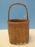 Small Hand Crafted Woven Berry/Egg Gathering Basket Wooden Center Handle