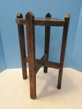 Primitive Wooden Side Table/Plant Stand Cross Brace Stretcher