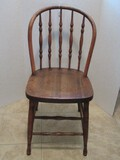 Early Traditional Oak Windsor Style Spindle Bow Back Chair