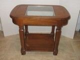 Transitional Modern Oak End Table w/ Center Glass Insert & Base Shelf