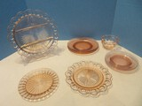 Pink Depression Glass Collection 3 Plates 8