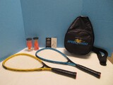 Too Cool Sharper Image Speed Bird Yellow/Blue Speedminton Racquets, 6 Speeder Birdies