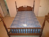 Ethan Allen Furniture Maple Colonial American Style Low 4 Poster Full Size Bed