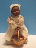 Black Americana Collectible Porcelain Doll w/ Basket on Stand
