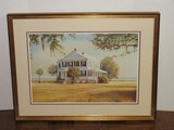 Southern Plantation Attributed to Douglas Grier Signed in Pencil Lithograph Art Print
