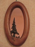 Unique Pine Oval Wall Accent Framed Mirror Carved Tree Signed Wiz '86