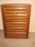 Bassett Furniture Oak Mid-Century Modern Collection Bureau Dovetail 5 Drawer Chest