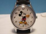 Walt Disney Co. Lorus Quartz Wrist Watch Black Leather Band