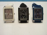 3 Gossip Designer Ladies Wrist Watches w/ Silicone Bands White, Black & Royal Blue Colors
