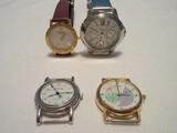 4 Ladies Wrist Watches Steel by Design Chronograph, Remington, Geneva & Becora