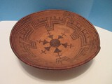 Native American Coiled Basket Bowl Intricate Design