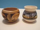 2 Native American Pottery Small Vessels Hand Painted 1 Signed Navajo 2 3/4