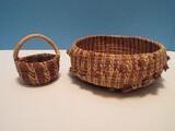 2 Hand Woven Artisan Pine Needle Baskets Mini Basket 3 3/4