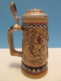 Ceramarte Hand Crafted Collectible Indians of American Frontier Stein Various Relief