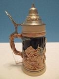 Western Germany Beer Stein w/ Lid Relief Design Couple Cabins & Mountain Background