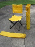2 Yellow Folding Lawn Chairs w/ Tote bags