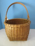 Unique Artisan Hand Woven Gathering Basket Square Base Round Top w/ Handle