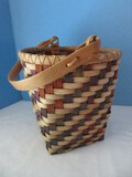 Exquisite Signed Patti Hill #706 Artisan Hand Woven Multi Color Basket w/ Handle