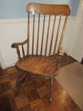 Early American Style Spindle High Back Rocker Ring Turned Legs/Stretcher