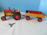 Litho Tin Awesome Schylling Tractor & Trailer Features Clockwork Wind-Up Motor