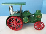 Rumely Oil Pull Cast Iron Toy Tractor Painted Green w/ Red Wheels Gilt Trim