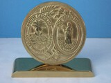 Virginia Metal Crafters Brass Seal of South Carolina On Stand Back Embossed Patchwork