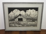 Realistic Dilapidated Barn Billowing Clouds Background Chalk Drawing '89 Artist Ragland