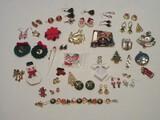 Christmas Fashion Jewelry Collection Christmas Tree Multicolor Stones, Jingle Bells