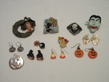 Halloween Jewelry Collection Skeleton Cameo Brooch, Jack-O-Lantern, Candy Corn