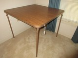 Folding Card Game Table w/ Simulated Wooden Grain Vinyl Top